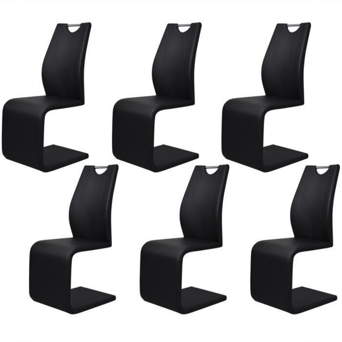 CHAISE 6PCS Chaises Moderne Noir Style Cantilever En Cuir