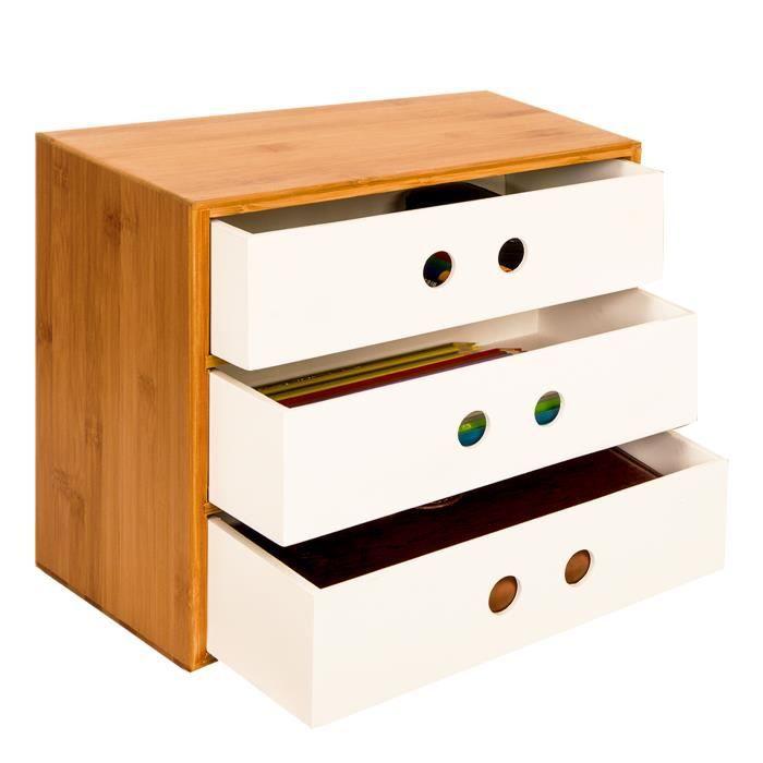 WOLTU Caisson de rangement en bambou et MDF,Boîte de rangement avec 3  tiroirs, 25*20*21cm