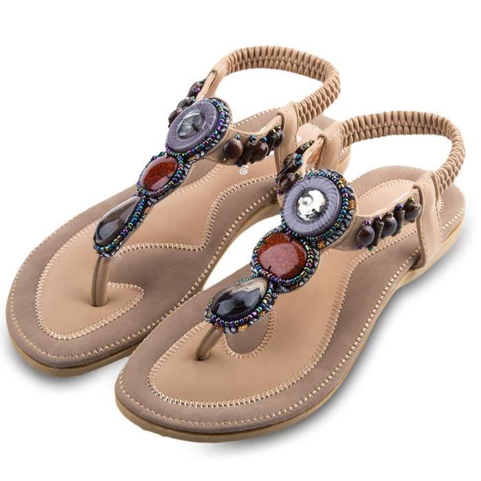 SIKETU dames Bohême strass conception Glissement sandales de plage bascule