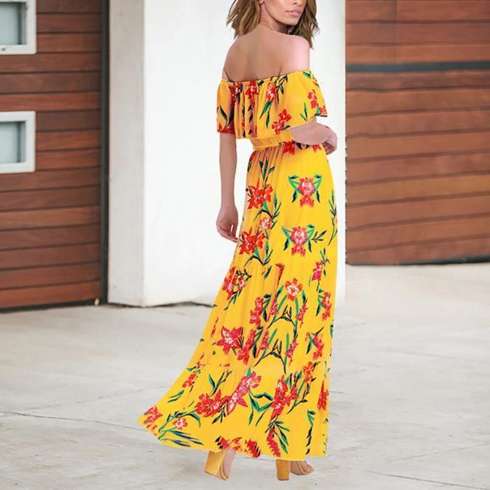 Robe Élégante Floral Manches Encolure Xxl Longue Moulante Jaune Femmes fq7w6xSE