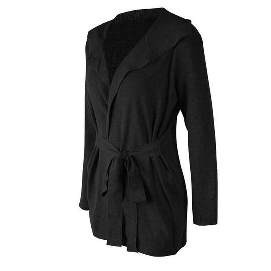 Casual Pull Pzh80906591bks Manches Solide Noir Manteau Outwear Longues Womens BwxfOq6Z6