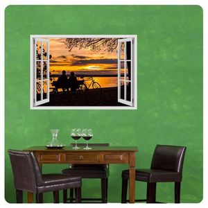 TABLEAU - TOILE Sunset In The Lake Fake 3D Window IMPRIMER Sur CAN