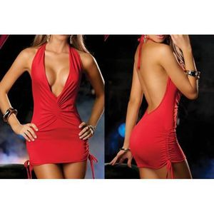 ENSEMBLE DE LINGERIE Red Halter lingerie sexy pyjama robe boîte de nuit