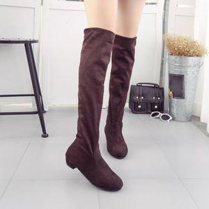 Point Toe femmes à talons hauts bottes automne hiver femmes montées chaussures simples marron WE585 wlVGD9sf6D