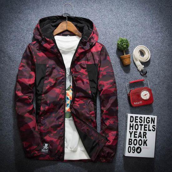 D'hiver Manteau Soft Imperméable Camouflage Pour vent Rouge Coupe Shell Hoodie Extérieur Homme T8UdxwqT