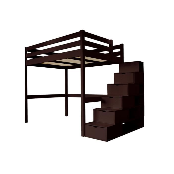 Lit Mezzanine Sylvia Avec Escalier Cube Bois Couleur Wenge Dimensions 120x200