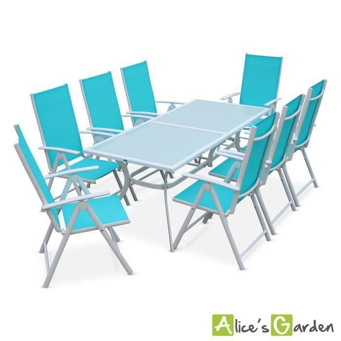 Salon de jardin en aluminium et textilène - Naevia - Blanc, Turquoise - 8  places