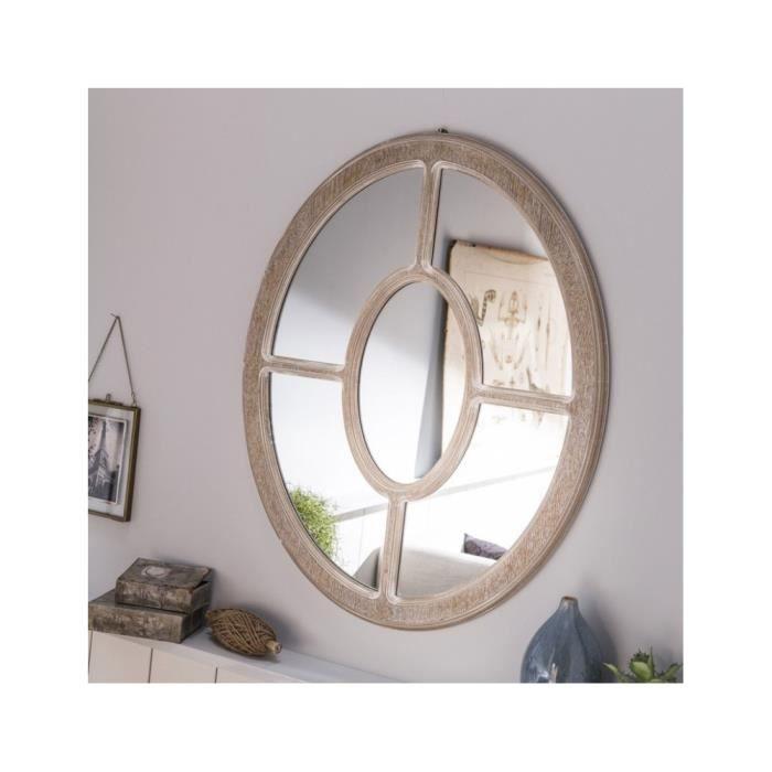 Miroir Ovale En Bois Façon Fenêtre Achat Vente Miroir Cdiscount