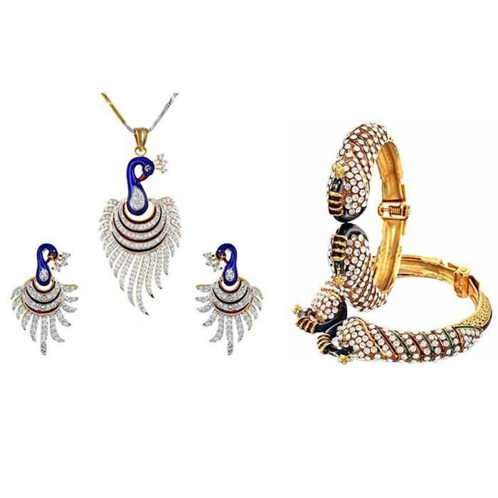 Combo Métal Or féminin de la danse Peacock Bangle Set et pendentif chaîne et boucles doreilles Bijoutier M8Q51
