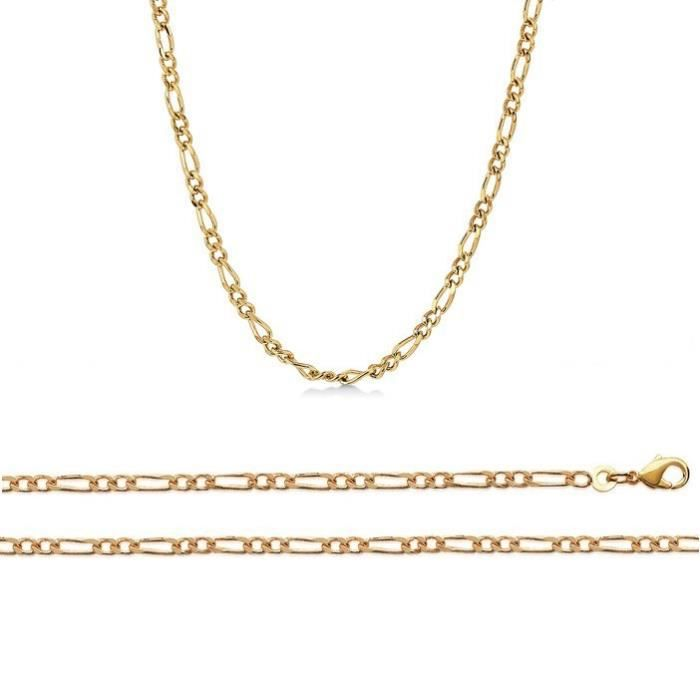 Chaine Plaqué Or maille figaro 1-2 largeur 2,8mm (60 cm)
