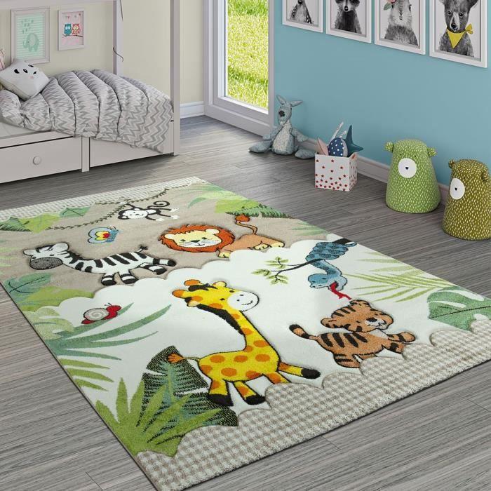 Tapis Pour Enfant Jungle Animaux Beige Crème - Achat / Vente tapis ...
