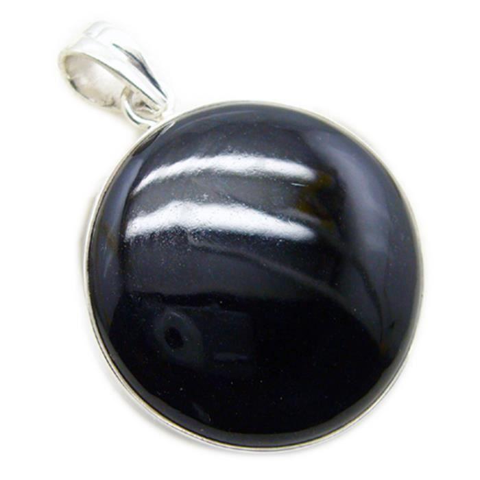 Noir Onyx Pendentif - Pendentif - Pendentif Noir - Noir Argent Pendentif