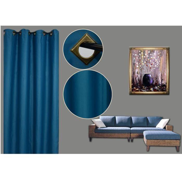 rideau occultant bleu 140x260cm achat vente rideau soldes d s le 27 juin cdiscount. Black Bedroom Furniture Sets. Home Design Ideas
