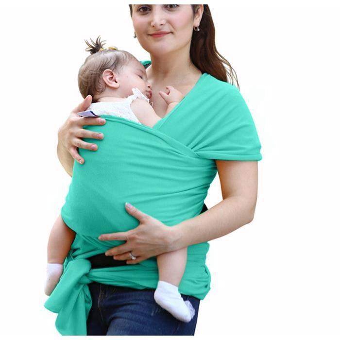7eb1eb65e3fd Écharpe de portage pour porter bébé porte kangourou baby carrier Sac à dos Porte  Bébé en coton élastique tabouret bébé-Bleu Vert