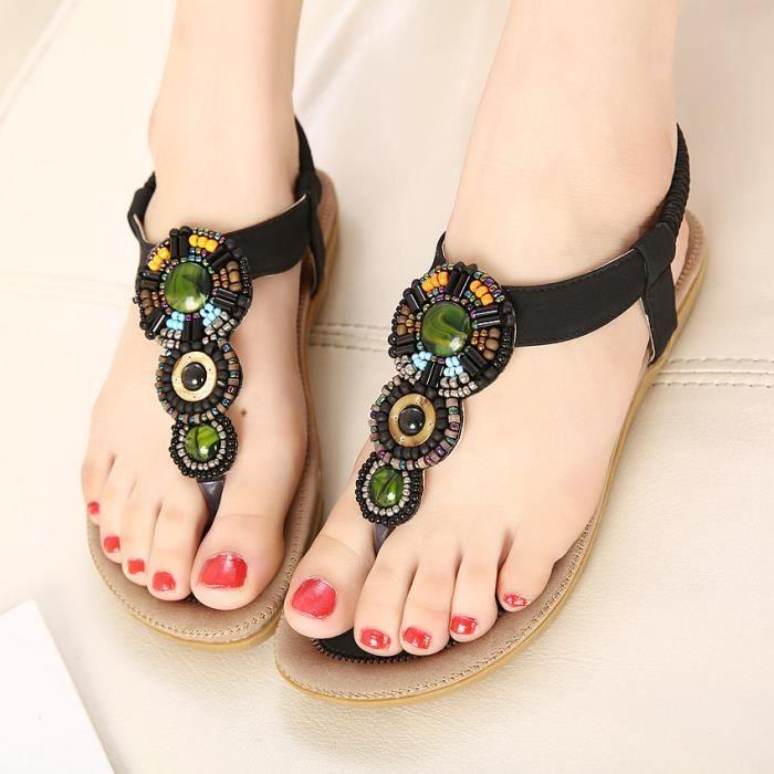 éolien national Bohême chaussures sandales plat...