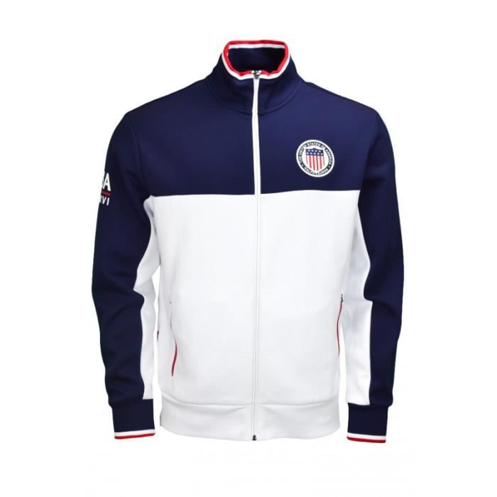 Veste zippée Ralph Lauren USA marine et blanche pour homme Bleu Bleu ... 408f71b55dfc