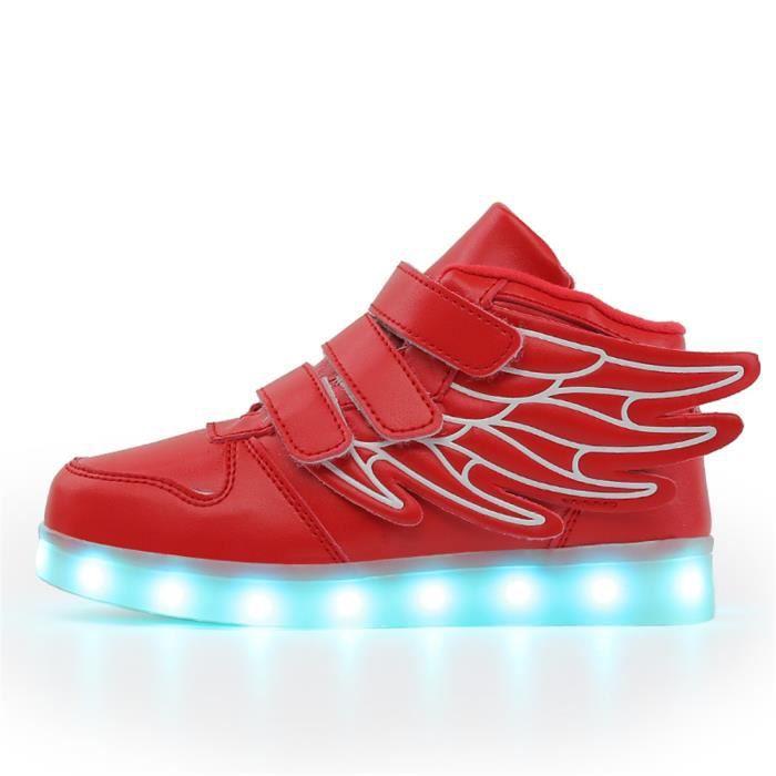 Bevoker -Basket Led Lumineuse Enfants Garçon Fille Chaussures - Aile Haut Dessus 7 Couleurs Clignotants