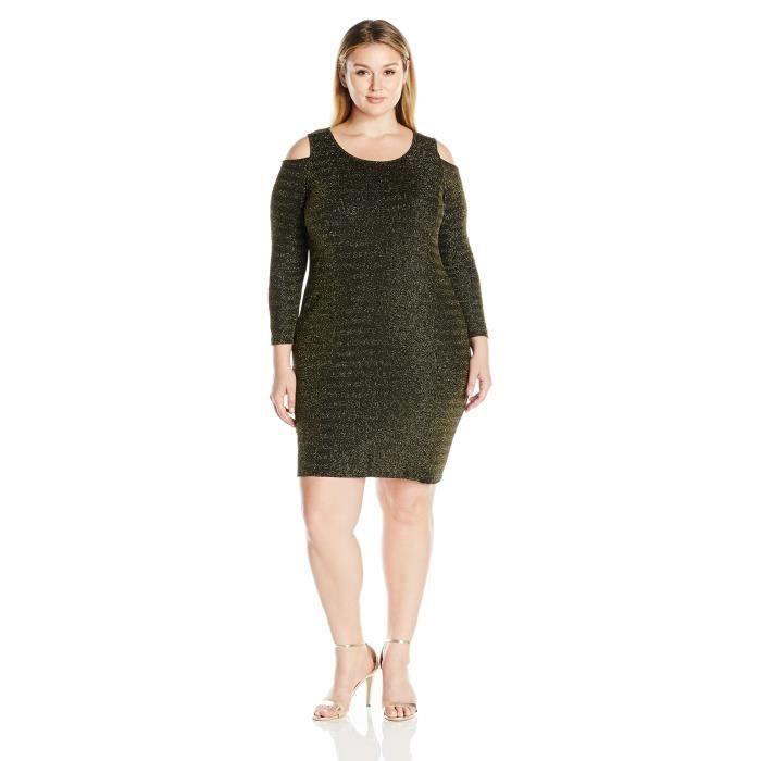 Ny Collection Robe longue à manches longues lurex pour femme KOF1R