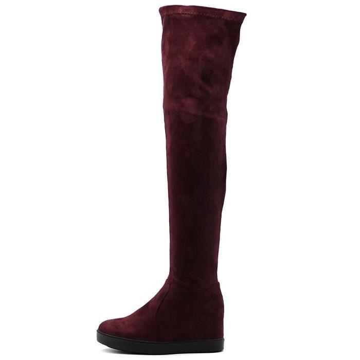 Cuissardes Chaussures Suede OHSE8 longues Bottes plat Taille stretch Plateau Faux 41 PTqFt