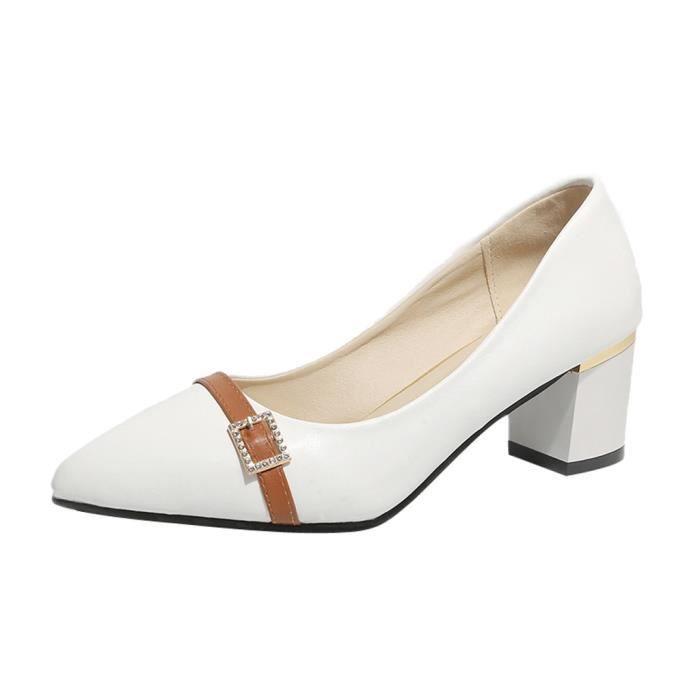 Orlashop Simples Talon Pointu Femmes Bout Mode Chaussures Blanc Carré Mocassins Casual rzCrqSUwx