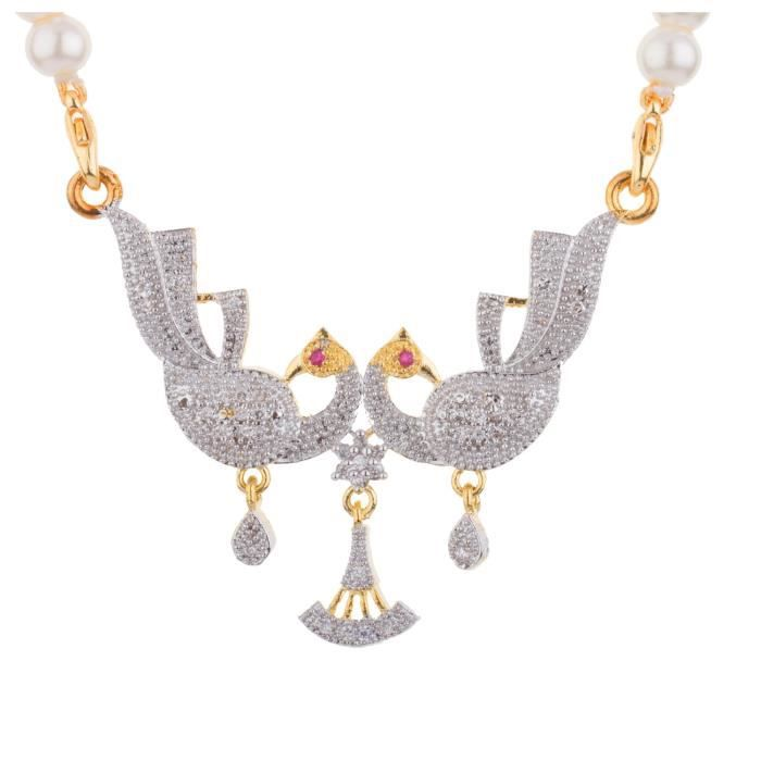Womens Classic Pearl Necklace With Peacock Pendant And Earrings Perfect Gift For Her C2SQO
