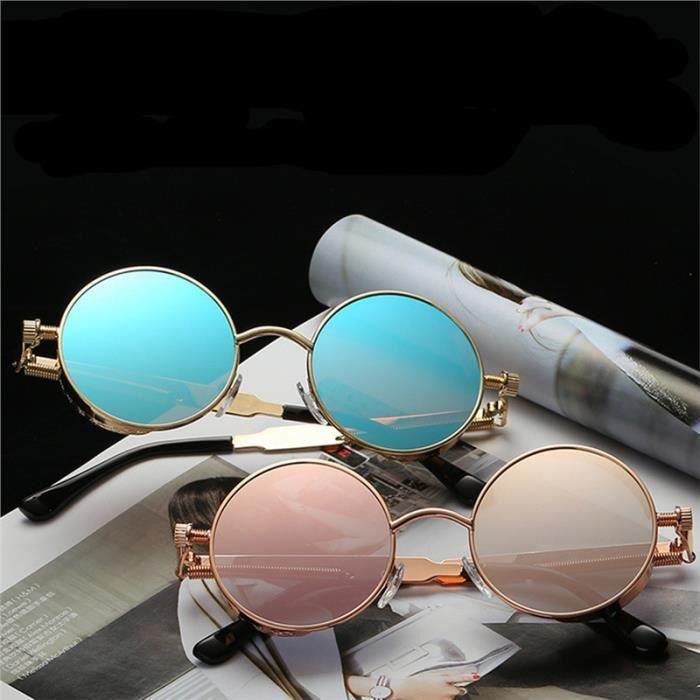 Lunettes de soleil plates rondes miroir vintage de mode lunettes pour femmes Hommes (Cadre argent avec lentille argentée)