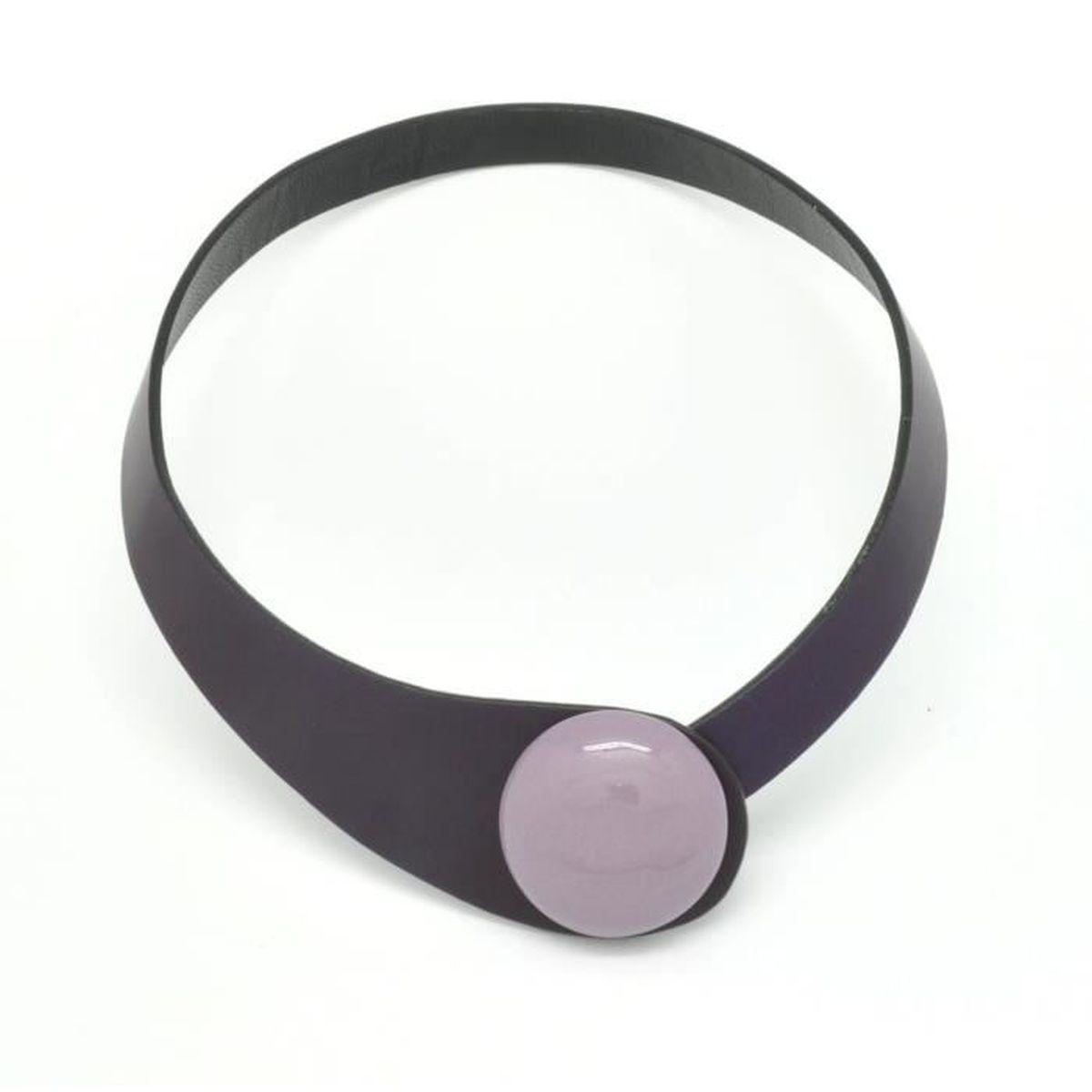 Collier cuir violet et céramique violet - Ceraselle Violet - Achat ... 8ff892af216