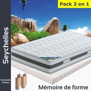 ENSEMBLE LITERIE Seychelles - Pack Matelas + Tapissier 140x190 + Pi