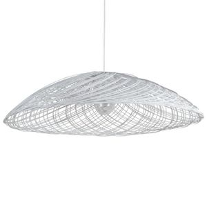 LUSTRE ET SUSPENSION SATELISE-Suspension Rotin Ø110cm Blanc Forestier |