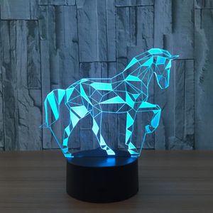 LAMPE A POSER Acrylique 3D Stéréo Vision Lampe Cheval Intérieur