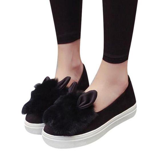 Chaussures plate-forme appartements d'hiver De Mode Réel Chaussures Chaussures Femme oreilles de fourrure Chaussures Chaussures Femmes Low Cut loisirs Noir Noir - Achat / Vente basket 87d9d4