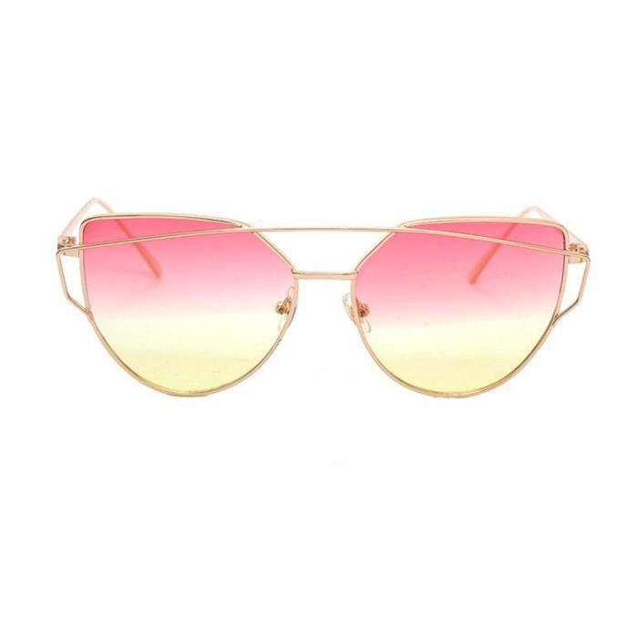 Mode Twin-Beams Classic femmes lunettes de vue en métal miroir