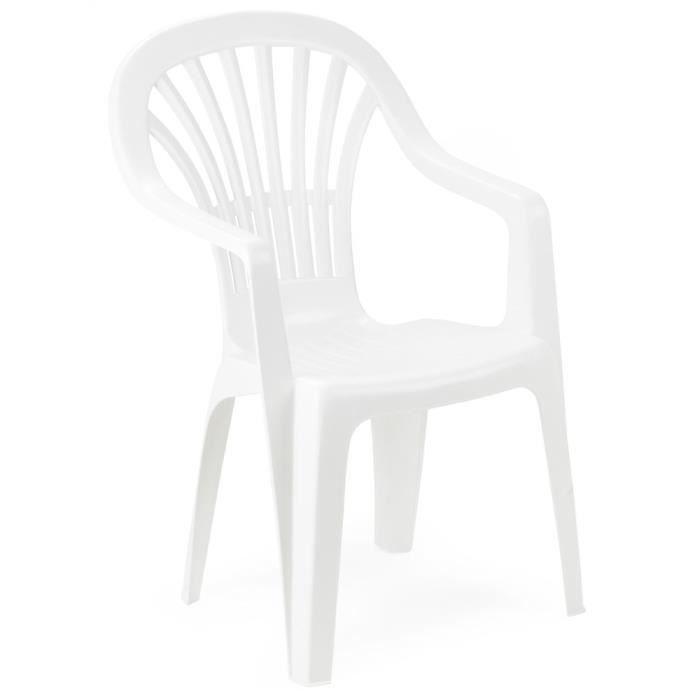 Lot 8 Chaises Jardin Empilables En Plastique Blanc Et Dossier Haut Wide