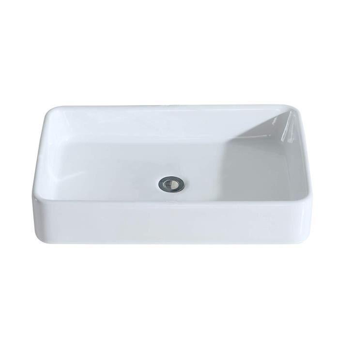 Eridanus Série Nevada, Vasque à Poser Rectangulaire Salle De Bain Lavabo En  Céramique Lave Mains Toilettes L61*L41*H11,5cm