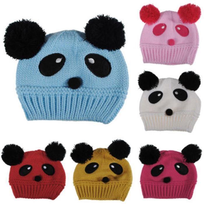 d563424dbda5 Chapeau tricoté laine bonnet Bébé enfant Panda ... Rose rouge ...