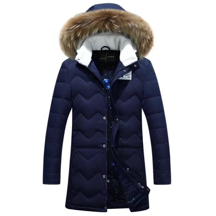 83b9fcd2e918 Fausse Fourrure En Veste Capuche Casual Col Chaude Bleu Doudoune Homme noir  Vêtement D hiver xnX1IqW