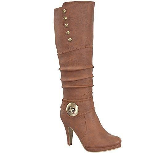 Womens Win-45 Knee High Round Toe Slouched High Heel Boots EUYY9 Taille-37