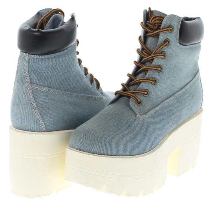 République Chaussure Chunky Plate-forme lacent cheville Bottes de travail Adam ON1EB Taille-40 ZN0zox