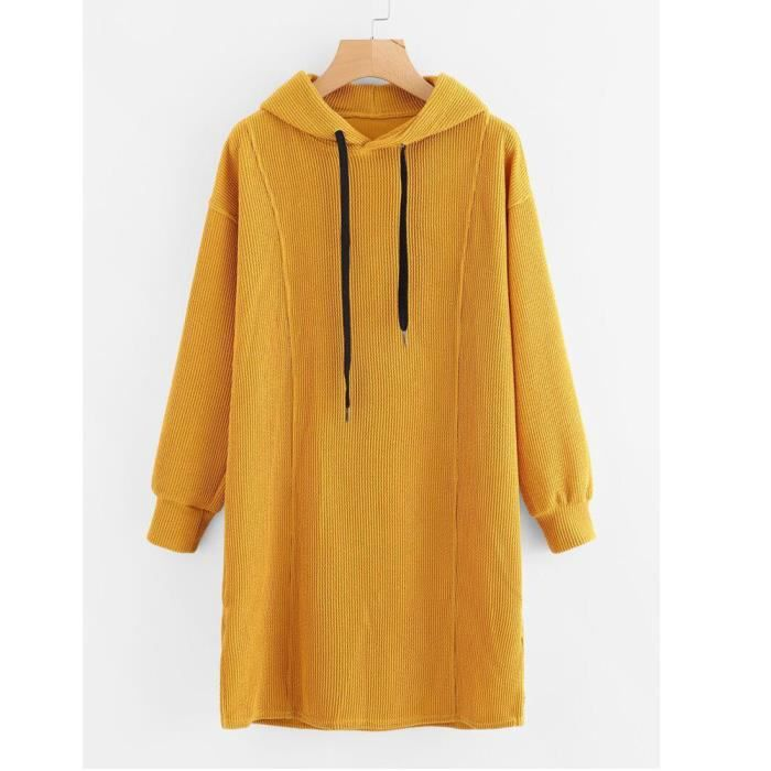 Napoulen®Mode femme manches longues Sweat capuche Pullover pull Tops chemisier Jaune HSW71116460