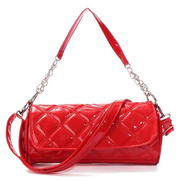 Femmes chaudes épaule Sac à main rouge rougeen cuir Rhombus Sacs de bracelets Mesdames bandoulière téléphone portable