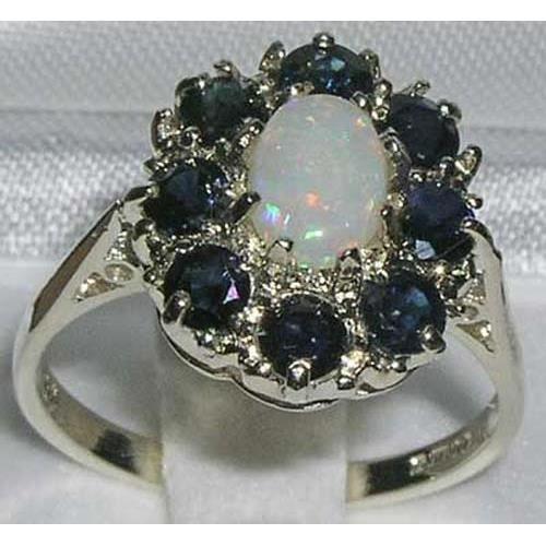 Bague pour Femme en Argent fin 925-1000 sertie d Opale Saphir- Tailles 50 à 64
