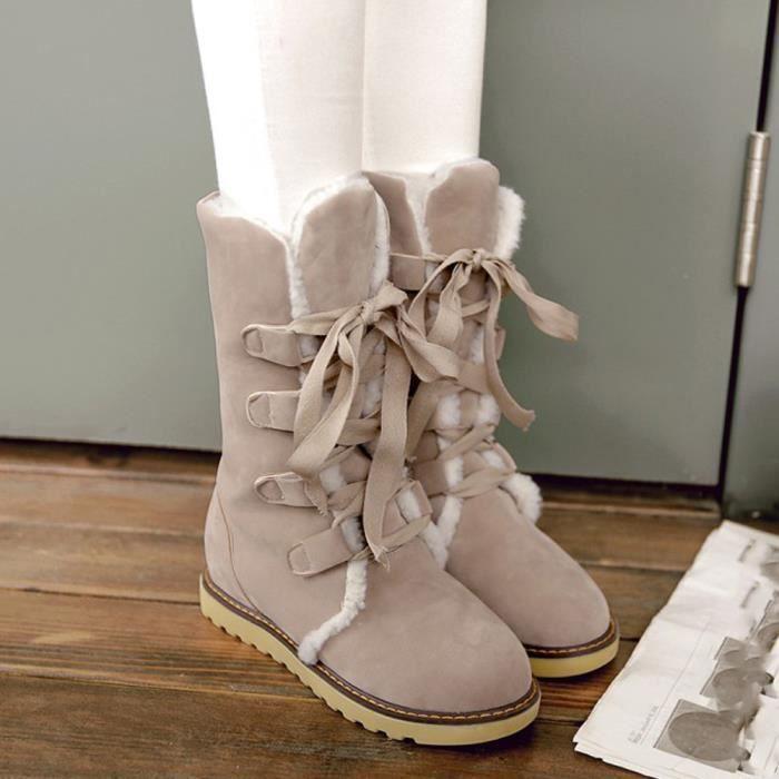 Napoulen®Femmes hiver mode Bottes de neige bande loisirs populaire Beige-XYY71017514BG