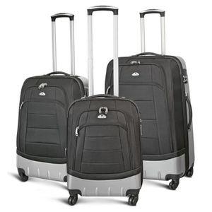 KINSTON Set de 3 Valises Semi Rigide ABS et Polyester 4 Roues 54-64-74 cm Noir