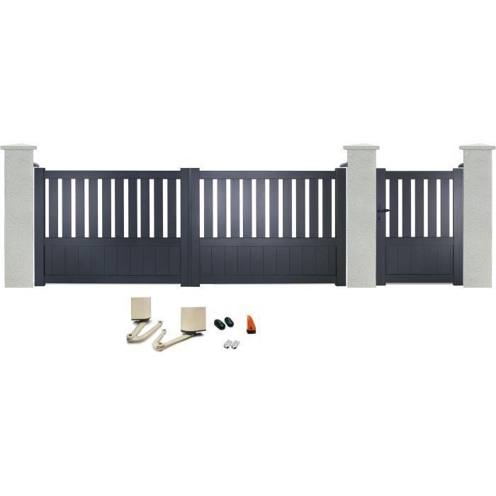Dimensions portillon / portail : 99x135 / 351x135 cm - Remplissage plein - Quincaillerie fournie.PORTAIL - PORTILLON