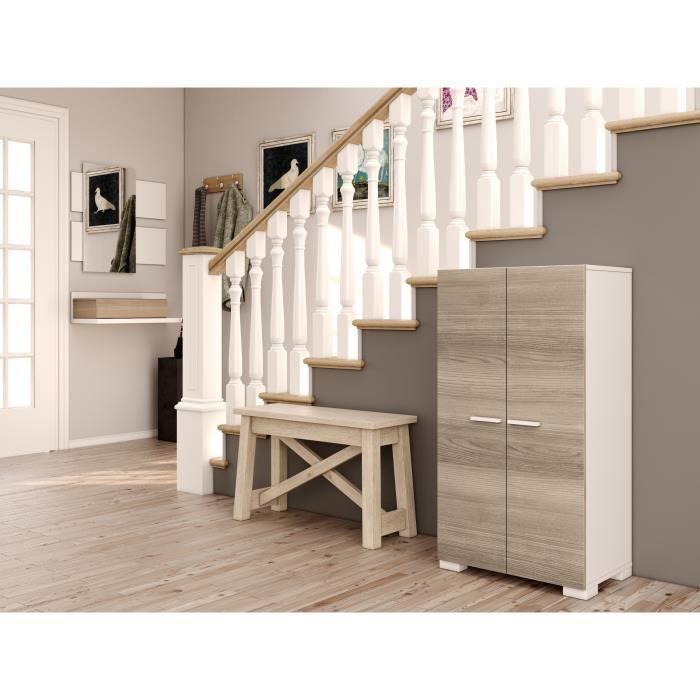 zapato meuble chaussures contemporain blanc et d cor fr ne mat 104 cm achat vente. Black Bedroom Furniture Sets. Home Design Ideas