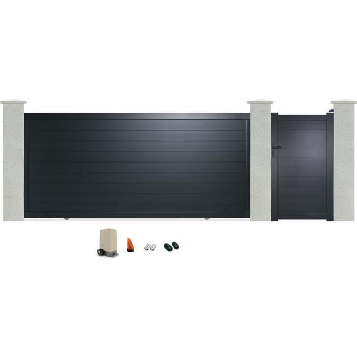 portillon manuel portail coulissant en aluminium yel 3 5 m motoris gris anthracite ral 7016. Black Bedroom Furniture Sets. Home Design Ideas