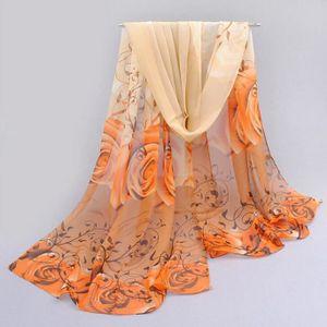 ECHARPE - FOULARD Femmes Belle Motif Rose en mousseline de soie Châl