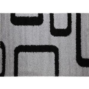 TAPIS Tapis de salon gris et noir PILULAS Gris L 165 cm