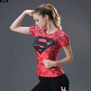T-SHIRT Superhero Superman T-Shirt Camouflage rouge femmes