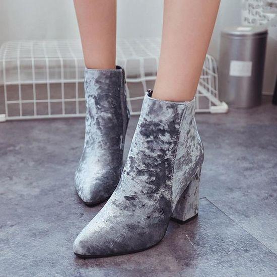 Femmes Dames Femelle Suede Faux Bottes Cheville Haute Talons Martin Pointu Chaussures Gris Gris Gris - Achat / Vente botte